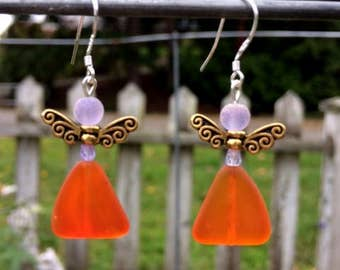 Orange Sea Glass Earrings, Fairy Earrings