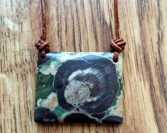 Mushroom Jasper and Leather Necklace Mushroom Necklace