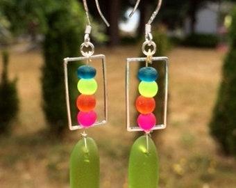 SALE - Green, Hot Pink, Orange and Blue Sea Glass Earrings