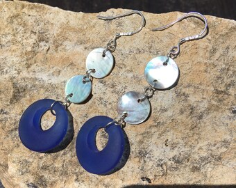 Sea Glass and Abalone Earrings, Sea Glass Hoop Earrings