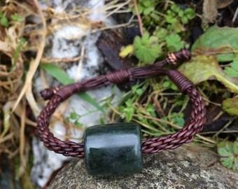 SALE - Washington Jade Bead and Leather Braided Bracelet