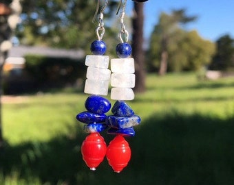 Coral, Lapis and Moonstone Earrings, 4th of July Earrings