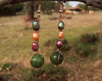 British Columbia Jade and Freshwater Pearl Earrings
