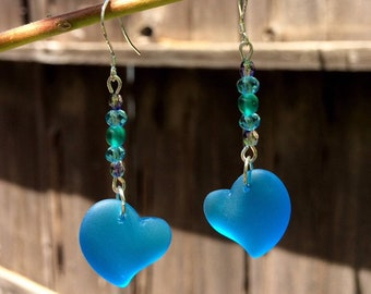Sea Glass Earrings, Blue Heart Earrings, Sea Glass Heart Earrings