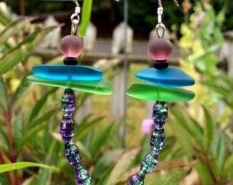 Dragonfly Sea Glass and Czech Earrings