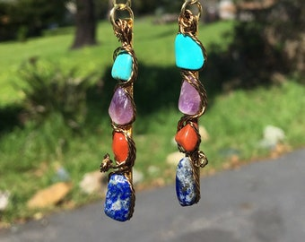 Turquoise, Amethyst, Lapis and Jasper Earrings
