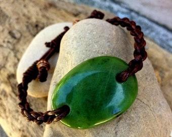SALE - British Columbia Jade and Leather Braided Bracelet