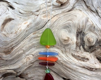 Sea Glass Necklace Fishbone Necklace Blue Green Red Orange Sea Glass Necklace