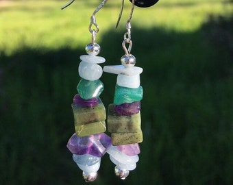 British Columbia Jade, Amethyst, Amazonite and Green Agate Earrings