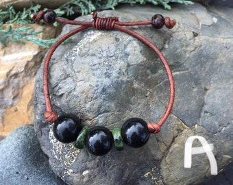Obsidian, Jade and Leather Bracelets