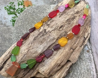 SALE - Sea Glass Necklace, Rainbow Glass Necklace