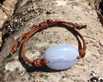 SALE - Purple Agate and Leather Bracelet