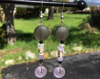 Gray and Purple Sea Glass Earrings