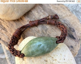 SALE - Northern California Botryoidal Jade and Leather Braided Bracelet