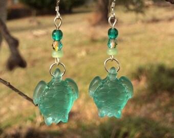 Green Sea Glass Earrings, Turtle Earrings