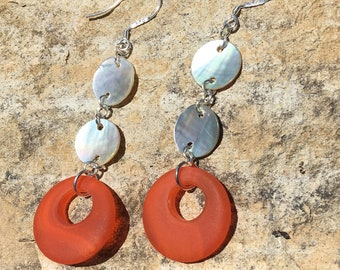 Sea Glass and Abalone Earrings, Sea Glass Hoop Earrings
