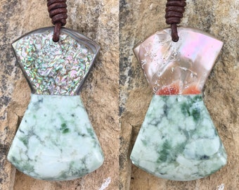 Northern California Botryoidal Jade, Cambria Abalone and Leather Necklace