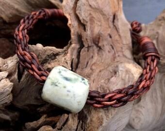 Washington River Jade Bead and Leather Braided Bracelet,