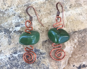 British Columbia Jade and Copper Earrings