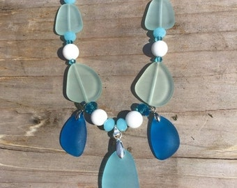 SALE - Blue Sea Glass Necklace