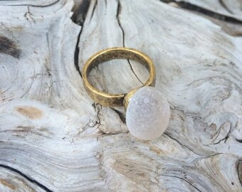 SALE - Genuine Sea Glass Ring, Peach Sea Glass Ring, Size 7
