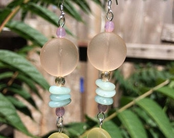 SALE - Peach and Yellow Sea Glass Earrings