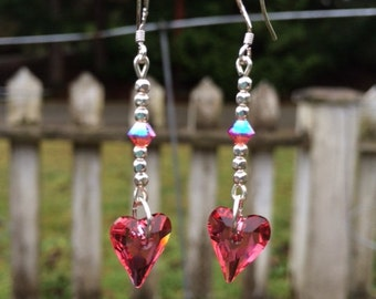 Pink Swarovski Heart Earrings, Valentine's Earrings