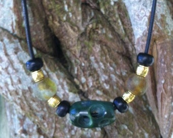 British Columbia Jade, Washington River Black Jade and African Sea Glass Necklace