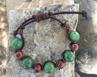 SALE - British Columbia Jade, Leather and Copper Bracelet