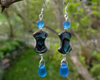 Abalone and Sea Glass Earrings