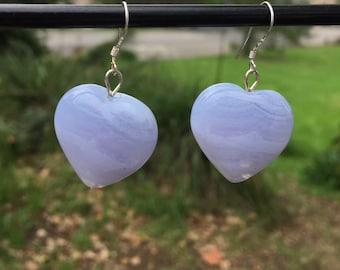 Purple Agate Heart Earrings