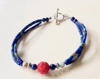 SALE - Lapis and Carved Coral Bead Bracelet