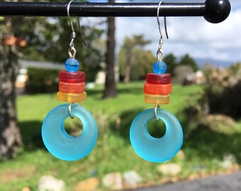 Sea Glass Earrings, Sea Glass Hoop Earrings