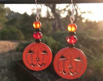 SALE - Halloween Earrings, Pumpkin Earrings, Jack O' Lantern Earrings