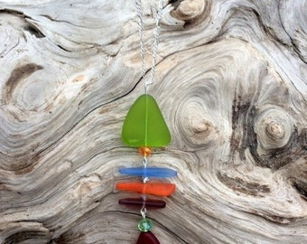 SALE - Sea Glass Necklace Fishbone Necklace Blue Green Red Orange Sea Glass Necklace