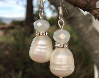 Freshwater Pearl and Swarovski Earrings