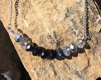 Swarovski Bar Necklace: Ombre Bar Necklace / Black to Clear Ombre