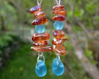 Orange and Blue Glass Earrings