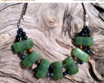 SALE - British Columbia Jade, Fancy Jasper and Leather Necklace