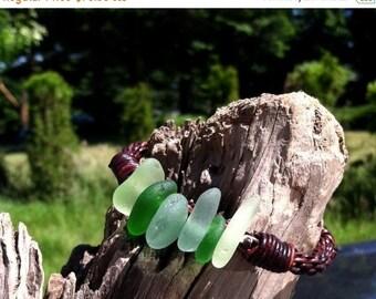 SALE - Puget Sound Genuine Sea Glass Leather Braided Bracelet