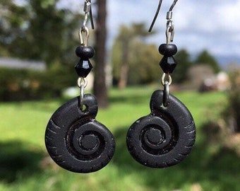 Black Sea Glass Earrings: Black Ammonite Shell Earrings