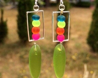 Green, Hot Pink, Orange and Blue Sea Glass Earrings