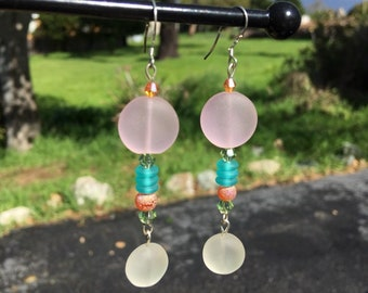 Pink and White Sea Glass Earrings