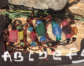 Glass and Leather Bracelets
