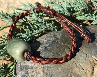 SALE - Northern California Botryoidal Jade Bead and Leather Bracelet