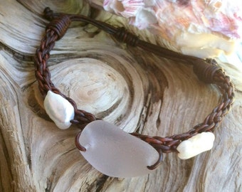 Puget Sound Genuine Sea Glass, Freshwater Cultured Pearls and Leather Braided Bracelet