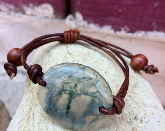 SALE - Moss Agate and Leather Bracelet