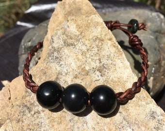 SALE - Obsidian and Leather Braided Bracelet