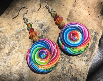 Polymer Clay Earrings, Rainbow Swirl Earrings