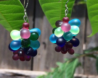 Sea Glass Bubble/Cluster Earrings